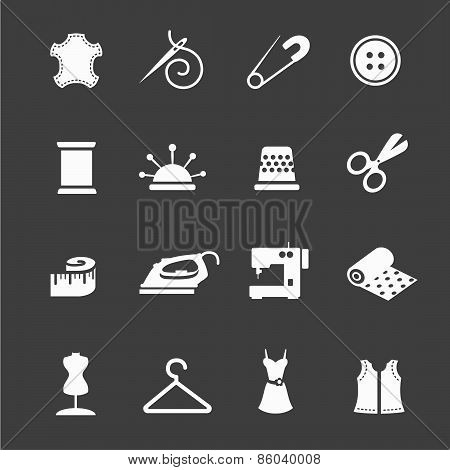 Vector sewing equipment and needlework icon set
