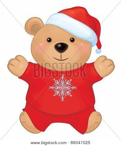 Vector of cute brown bear in red Santa's costume.