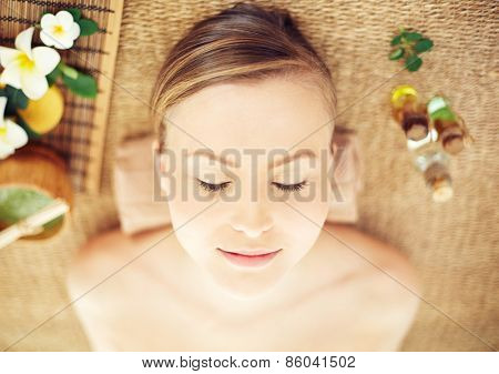 Close-up of relaxed female at beauty spa