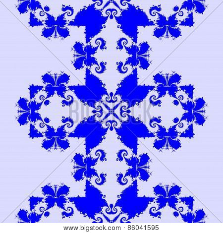 Abstract seamless decorative blue fractal mosaic with butterflies