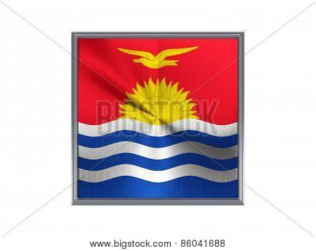 Square Metal Button With Flag Of Kiribati