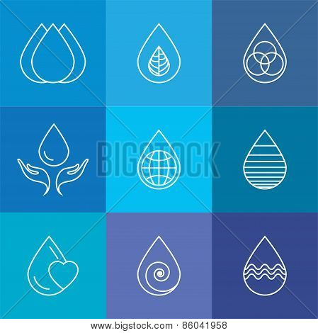 Set Of Water Drops & Nature Vector - Abstract Logo Templates & Line Icons
