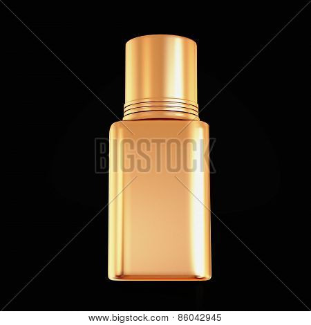 Golden Nail Polish Isolated On Black Background.