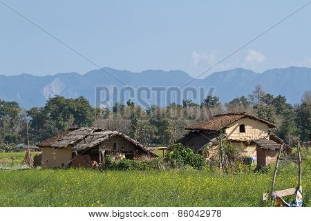 Landscape and traditional village in Terai, at Thakurdwara, Bardia, Nepal