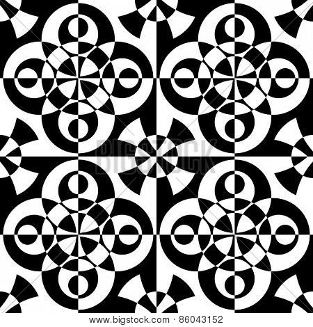 Seamless Oriental Ornament. Vector Ring Pattern. Abstract Monochrome Background