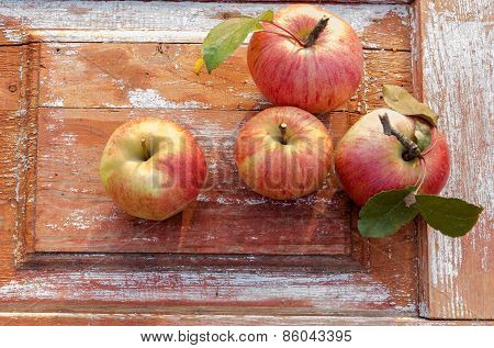Autumn Apples On Old Wooden Background. Rustic Style.. Rustic Style.