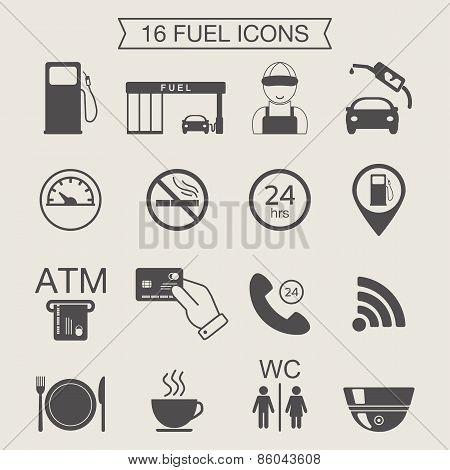 Gas Station Icons. Fuel Icons. Monochrome. Vector