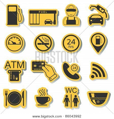 Gas Station Icons. Fuel Icons. Stickers. Vector