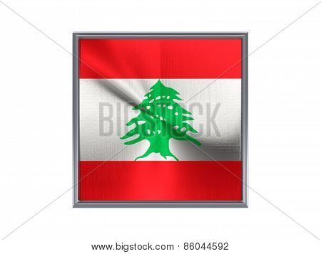 Square Metal Button With Flag Of Lebanon