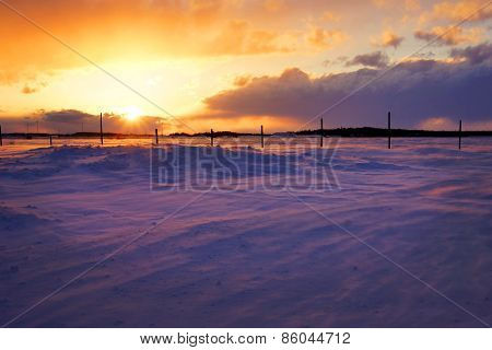 Sunset Over Snowbank