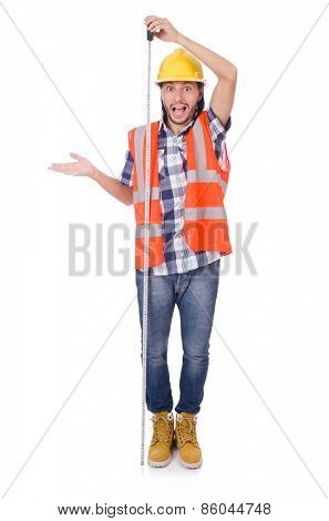 Funny construction worker with tape-line isolated on white
