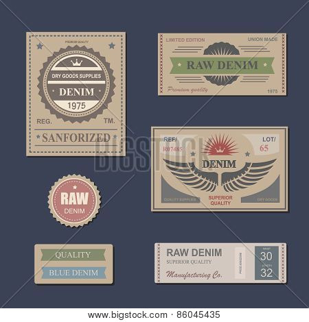 Vintage Labels denim typography, t-shirt, vectors, carton, emblems set