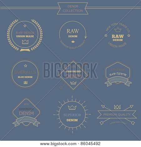 Vintage labels denim typography, t-shirt graphics, carton, emblems  vectors