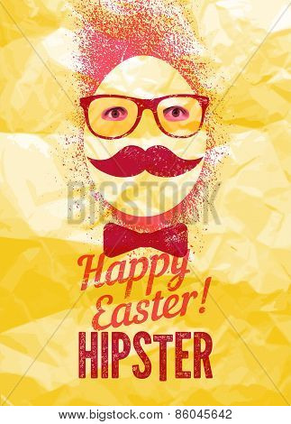 Easter greeting card with the background of crumpled paper. Typographic retro grunge vector illustra