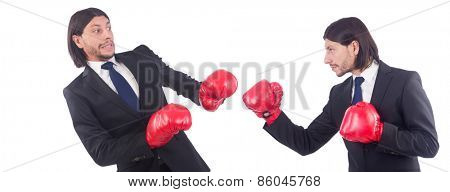 Businessmen with boxing gloves on white