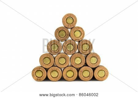 Ammunition Rounds Stacked In Triangle Shape
