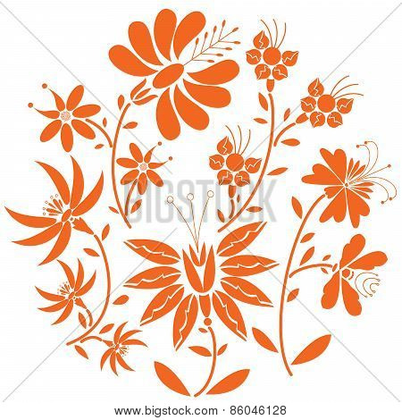 Floral folk pattern in circle containing set of orange- red color  flowers inspired by the Eastern E