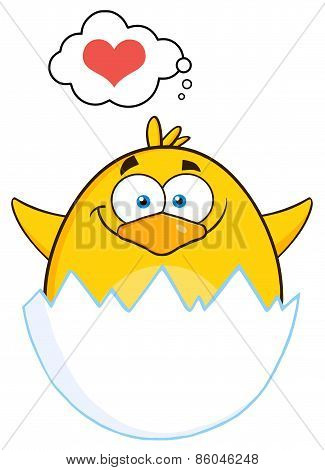 Surprise Yellow Chick Cartoon Character Out Of An Egg Shell With Speech Bubble With Heart