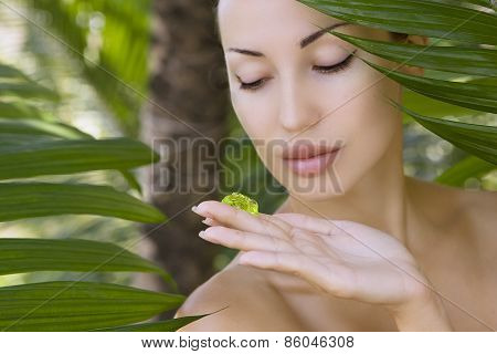 Beautiful Woman Holding Aloe Vera Gel, Skin Care And Wellness. Facial Moisturize Mask, Outdoors