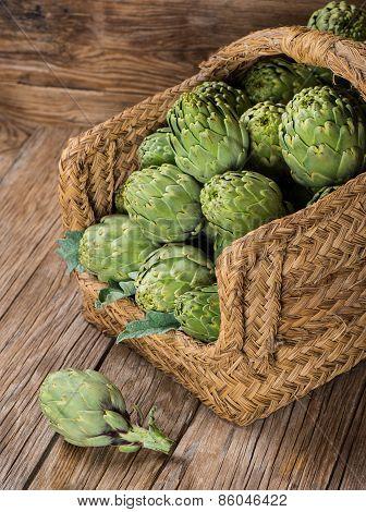 Organic Artichokes In A Basket