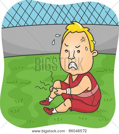Illustration of a Male Athlete Suffering from Severe Leg Cramps