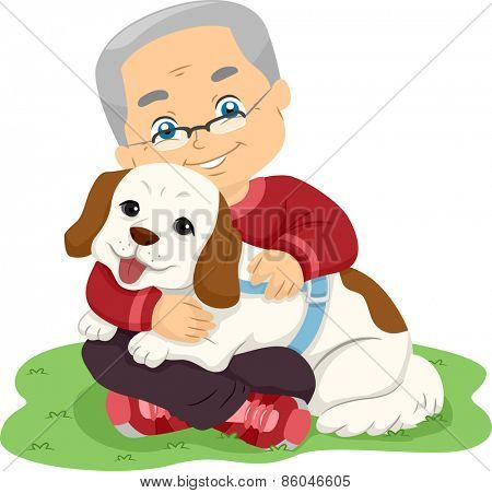 Illustration of a Senior Citizen Hugging a Dog
