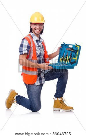 Construction worker with tool box isolated on white