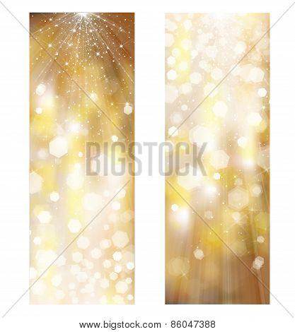 Vector glitter golden banners.