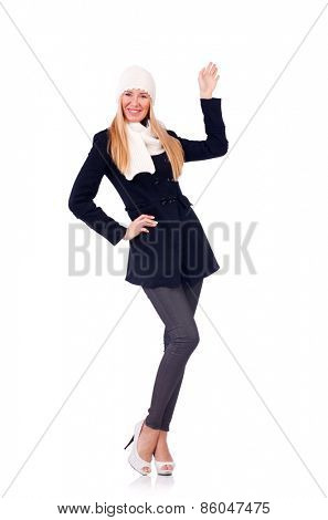 Woman in dark coat isolated on white