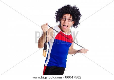 Guy with skipping rope isolated on white