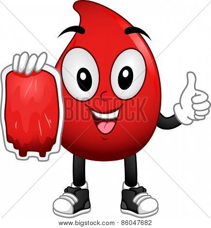 Mascot Illustration of a Red Blood Cell Carrying a Blood Bag