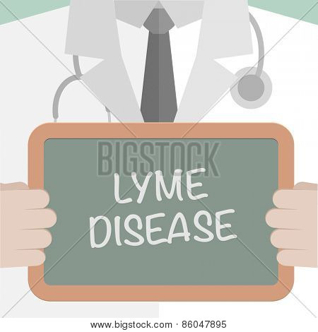 minimalistic illustration of a doctor holding a blackboard with Lyme Disease text, eps10 vector