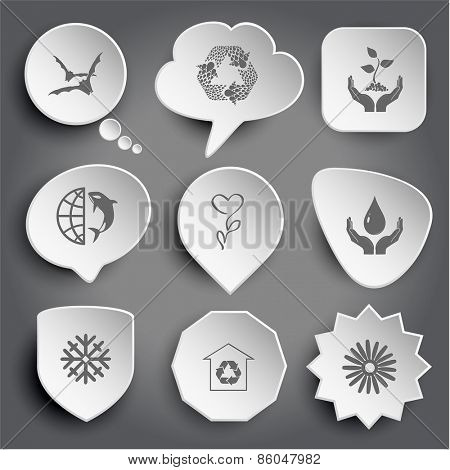 bats, recycle symbol, plant in hands, globe and shamoo, flower, protection blood, snowflake, protection of nature, camomile. White raster buttons on gray.