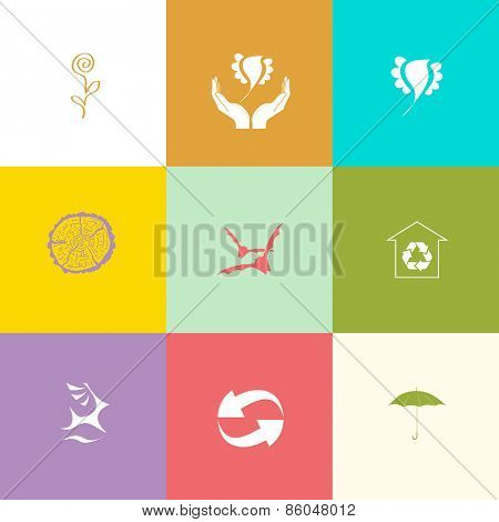 Nature set. Flat color raster icons.