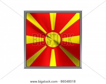 Square Metal Button With Flag Of Macedonia