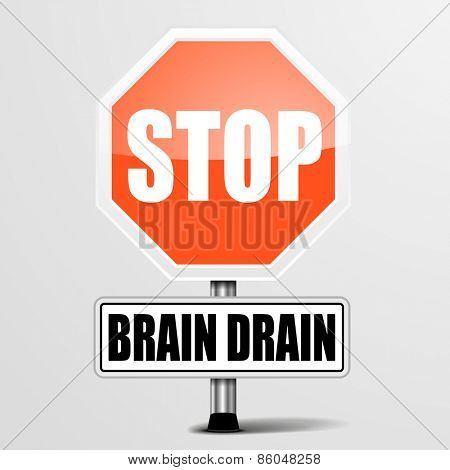 detailed illustration of a red stop Brain Drain sign, eps10 vector