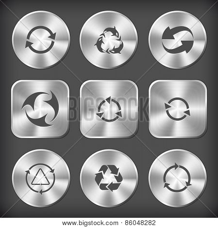 Recycle symbols set. Raster round and square steel buttons.