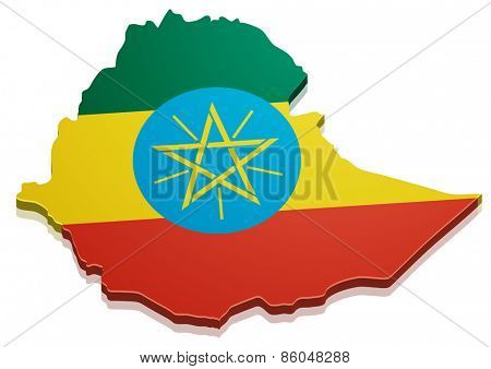 detailed illustration of a map of Ethiopia with flag, eps10 vector