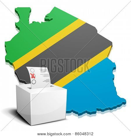 detailed illustration of a ballotbox in front of a map of Tanzania, eps10 vector
