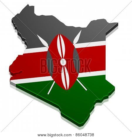 detailed illustration of a map of Kenya with flag, eps10 vector