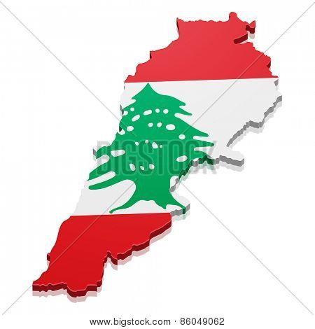 detailed illustration of a map of Lebanon with flag, eps10 vector