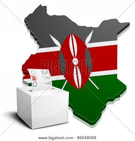 detailed illustration of a ballotbox in front of a map of Kenya, eps10 vector