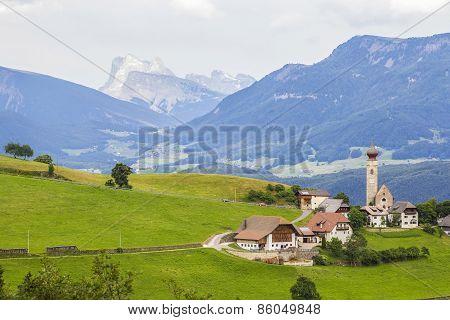 Alpine village on a plateau