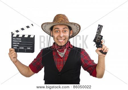 Young cowboy isolated on white