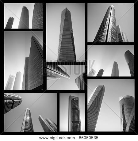 Collage of modern business center in black and white