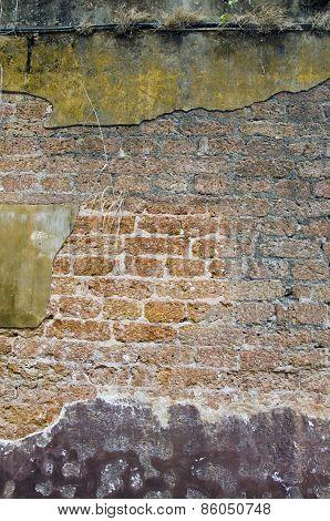 Old Cracked Grunge Brick Wall Background