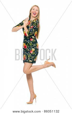 Woman in dark green floral dress isolated on white