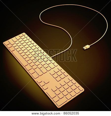 Golden Computer Keyboard On Black Background.