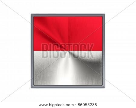 Square Metal Button With Flag Of Monaco
