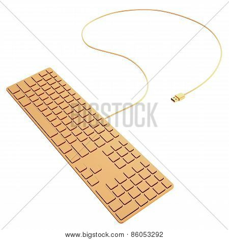 Golden Computer Keyboard  Isolated On White Background.